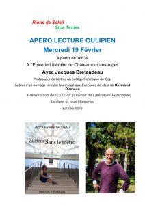 Apéro lecture oulipien @ Châteauroux les Alpes