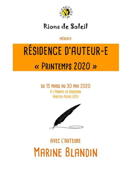 Présentation partenaires Résidence printemps 2020 M. Blandin