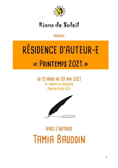 Résidence printemps 2021 Tamia Baudoin pour partenaires